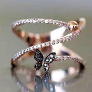 NEW Rose Gold Diamond Blue Butterfly Layer RIng